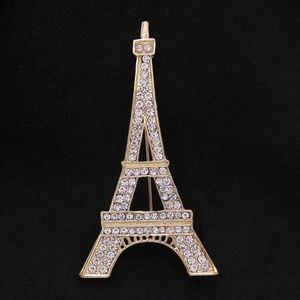 NWT Gold Eiffel Tower Paris Cubic Zirconia Pin
